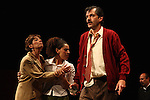 Actress Liliana Guido, Sandra Galeano and Sergio Lopez perform the play An Enemy of the People by Henrik Ibsen at the Teatto El Galeon, July 28, 2008.  The play is directed by Raquel Seoane. The theater company Contigo... America started its work on 1981 in Mexico. Photo by Heriberto Rodriguez