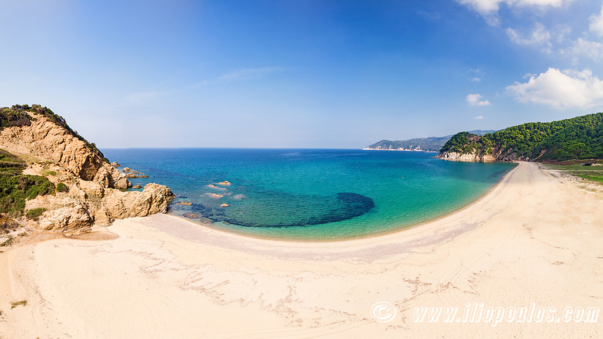 The beach Aselinos of Skiathos island from drone view, Greece