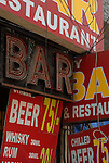 Bar in the Paharganj district of New Delhi, India.