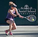 April 8,2016:   Laura Siegemund (GER) loses to Elena Vesnina (RUS) 7-5, 6-4, at the Volvo Car Open being played at Family Circle Tennis Center in Charleston, South Carolina.  ©Leslie Billman/Tennisclix/Cal Sport Media