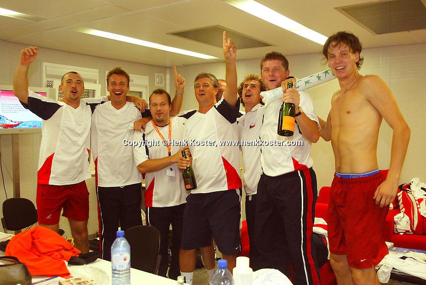 23-9-06,Leiden, Daviscup Netherlands-Tsjech Republic,Tchech team celebrates their victory over the Netherlands