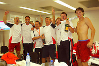 23-9-06,Leiden, Daviscup Netherlands-Tsjech Republic,Tchech team celebrates their victory over the Netherlands