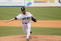 Down East Wood Ducks pitcher Austin Pettibone (17) on the mound during a game against the Salem Red Sox at Grainger Stadium on April 16, 2017 in Kinston, North Carolina. Salem defeated Down East 9-2. (Robert Gurganus/Four Seam Images)