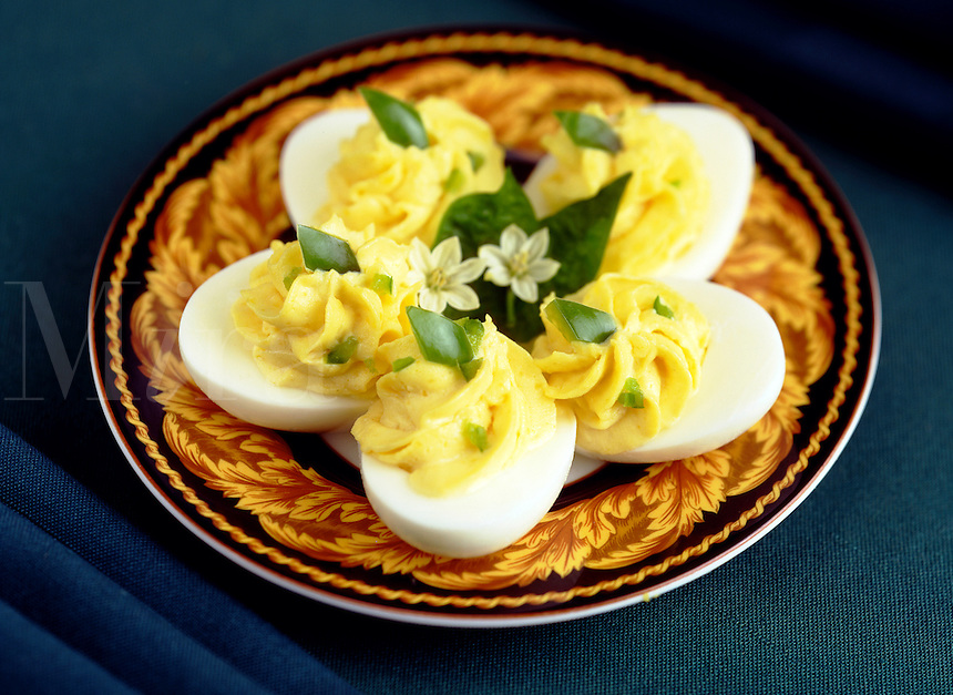 Deviled Eggs on Yellow and black plate