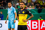 09.08.2019, Merkur Spiel-Arena, Düsseldorf, GER, DFB Pokal, 1. Hauptrunde, KFC Uerdingen vs Borussia Dortmund , DFB REGULATIONS PROHIBIT ANY USE OF PHOTOGRAPHS AS IMAGE SEQUENCES AND/OR QUASI-VIDEO<br /> <br /> im Bild | picture shows:<br /> Kevin Grosskreutz (KFC Uerdingen #6) mit Paco Alcacer (Borussia Dortmund #9), <br /> <br /> Foto © nordphoto / Rauch