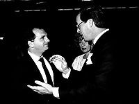 Claude Charron (L) and Yves duhaime (R) attend the Rene Levesque tribute at Montreal's convention centre, October 2nd,1985.<br /> <br /> File Photo : Agence Quebec Presse - Pierre Roussel