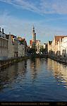 Canal Scene: Spinolarei at Sunrise, Poortersloge Burgher's Lodge in the distance, Bruges, Brugge, Belgium