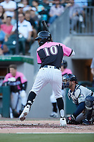 Ti'Quan Forbes (10) of the Charlotte Knights at bat against the Gwinnett Stripers at Truist Field on July 17, 2021 in Charlotte, North Carolina. (Brian Westerholt/Four Seam Images)