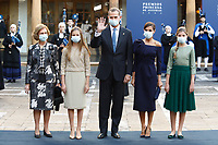 OVIEDO, SPAIN - October 16: **NO SPAIN**  Queen Sofia, Princess Sofia, King Felipe, Queen Letizia and Crown Princess Leonor of Spain at the Princess of Asturias awards 2020 at the Reconquista hotel in Oviedo, Spain on the 16th of October of 2020.. <br /> CAP/MPI/RJO<br /> ©RJO/MPI/Capital Pictures