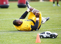 Daniel McCullers #62 of the Pittsburgh Steelers practices an an RC car races by at the south side practice facility on November 18, 2015 in Pittsburgh, PA.