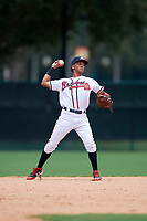GCL Braves shortstop Luidemid Rojas (1) throws to first base during the second game of a doubleheader against the GCL Yankees West on July 30, 2018 at Champion Stadium in Kissimmee, Florida.  GCL Braves defeated GCL Yankees West 5-4.  (Mike Janes/Four Seam Images)
