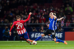 Nicolaj Thomsen (R) of FC Copenhague fights for the ball with Sergio Gonzalez Testan of Atletico de Madrid during the UEFA Europa League 2017-18 Round of 32 (2nd leg) match between Atletico de Madrid and FC Copenhague at Wanda Metropolitano  on February 22 2018 in Madrid, Spain. Photo by Diego Souto / Power Sport Images