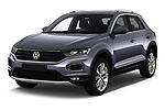 2018 Volkswagen T-Roc Elegance 5 Door SUV angular front stock photos of front three quarter view