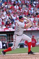 Washington Nationals third baseman Ryan Zimmerman #11 bats against the Los Angeles Angels at Angel Stadium on June 29, 2011 in Anahein,California. (Larry Goren/Four Seam Images)