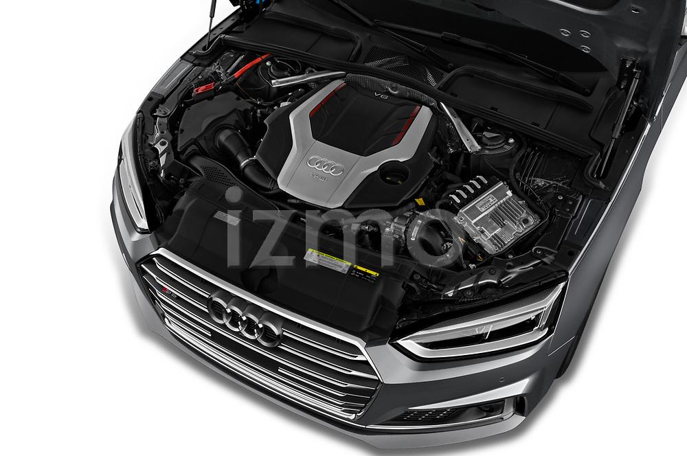 Car stock 2018 Audi S5 Sportback Base 5 Door Hatchback engine high angle detail view