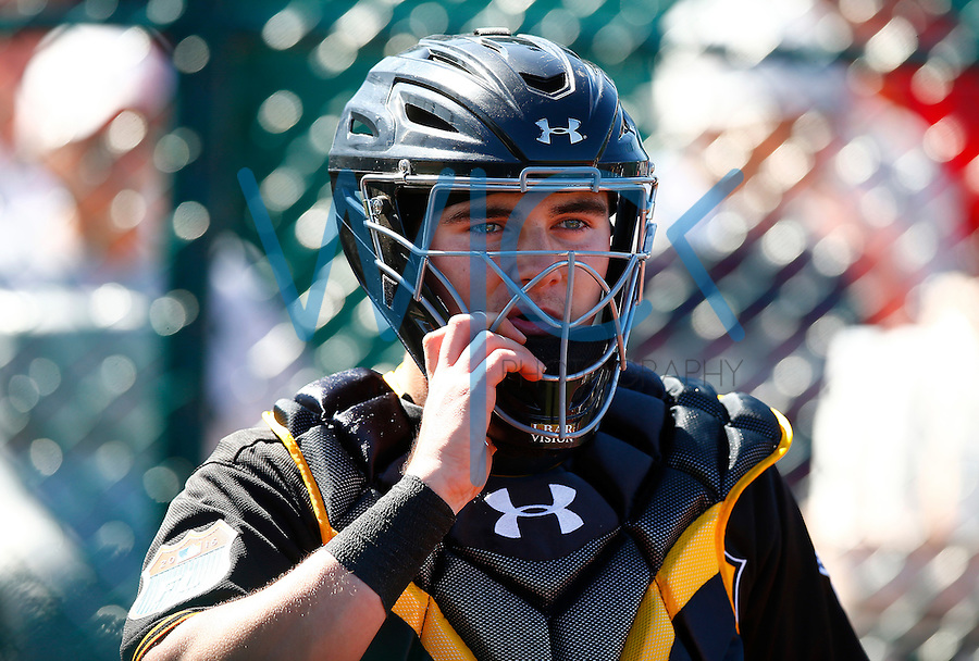 Reese McGuire #84 of the Pittsburgh Pirates works out in the bullpen during spring training at Pirate City in Bradenton, Florida on February 19, 2016. (Photo by Jared Wickerham / DKPS)