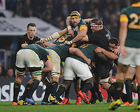 Old warriors Richie McCaw of New Zealand tussles with Victor Matfield of South Africa in the maul during the Semi Final of the Rugby World Cup 2015 between South Africa and New Zealand - 24/10/2015 - Twickenham Stadium, London<br /> Mandatory Credit: Rob Munro/Stewart Communications