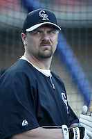 Larry Walker of the Colorado Rockies before a 2002 MLB season game against the Los Angeles Dodgers at Dodger Stadium, in Los Angeles, California. (Larry Goren/Four Seam Images)