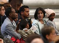 Fedeli assistono ad una Messa celebrata nella basilica di San Pietro in Vaticano da Papa Francesco in occasione della Giornata Mondiale dei Poveri. 17 novembre 2019.<br /> Faithful attend a Mass marking the World Day of the Poor celebrated  by Pope Francis in Saint Peter's Basilica at the Vatican, on 17 November,  2019.<br /> UPDATE IMAGES PRESS/Isabella Bonotto<br /> <br /> STRICTLY ONLY FOR EDITORIAL USE