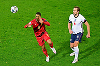 15th November 2020; Leuven, Belgium;   Youri Tielemans midfielder of Belgium battles for the ball with Harry Kane forward of England during the UEFA Nations League match group stage final tournament - League A - Group 2 between Belgium and England
