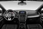 Stock photo of straight dashboard view of 2019 Dodge Grand-Caravan GT 5 Door Minivan Dashboard
