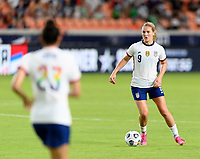 HOUSTON, TX - JUNE 10: Lindsey Horan #9 of the United States looks to pass the ball during a game between Portugal and USWNT at BBVA Stadium on June 10, 2021 in Houston, Texas.