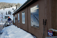 A view of the rental building at Showdown Ski Area on King's Hill in the Little Belt Mountains near Neihart, Montana, USA.