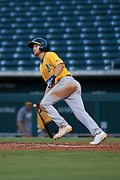 AZL Athletics Gold Michael Woodworth (1) hits a home run during an Arizona League game against the AZL Cubs 1 at Sloan Park on June 20, 2019 in Mesa, Arizona. AZL Athletics Gold defeated AZL Cubs 1 21-3. (Zachary Lucy/Four Seam Images)