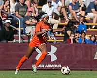 Newton, Massachusetts - October 22, 2017: NCAA Division I. University of Virginia (orange/white) defeated Boston College (white), 2-1, at Newton Campus Soccer Field.