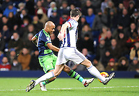 Andre Ayew of Swansea City shoots wide during the Barclays Premier League match between West Bromwich Albion and Swansea City at The Hawthorns on the 2nd of February 2016
