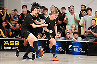 Spencer Cameron of Wellington College celebrates with team mates during the NZ Secondary Schools Senior Boys Final between Wellington College and Tauranga Boys' College at ASB Sports Centre, Wellington on 26 March 2021.<br /> Copyright photo: Masanori Udagawa /  www.photosport.nz