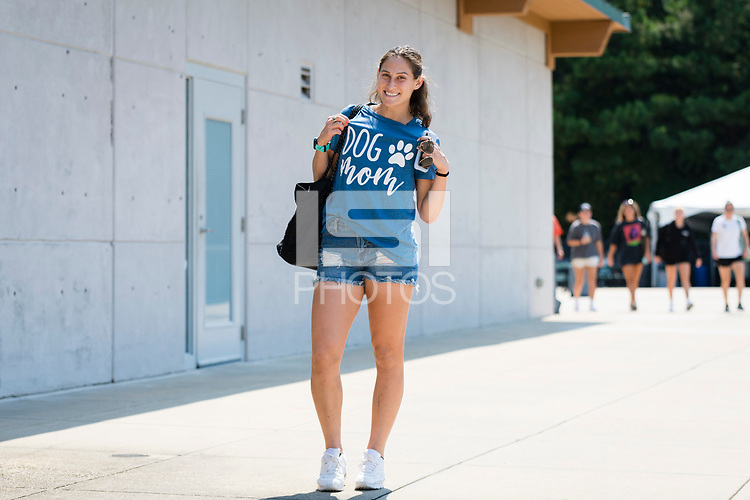 CARY, NC - SEPTEMBER 12: Kaleigh Kurtz #3 of the NC Courage arrives at Sahlen's Stadium before a game between Portland Thorns FC and North Carolina Courage at WakeMed Soccer Park on September 12, 2021 in Cary, North Carolina.