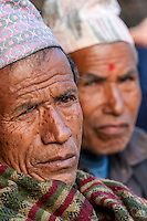Bhaktapur, Nepal.  Newari Men with Traditional Hats (Topi).