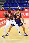 Turkish Airlines Euroleague 2020/2021. <br /> Regular Season-Round 10.<br /> FC Barcelona vs Crvena Zvezda MTS Belgrade: 76-65.<br /> Duop Reath vs Pierre Oriola.
