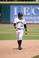 Bradenton Marauders Mason Martin (47) leads off during a Florida State League game against the St. Lucie Mets on July 28, 2019 at LECOM Park in Bradenton, Florida.  Bradenton defeated St. Lucie 7-3.  (Mike Janes/Four Seam Images)