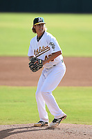 Oakland Athletics pitcher Daniel Gossett (46) during an Instructional League game against the San Francisco Giants on October 15, 2014 at Papago Park Baseball Complex in Phoenix, Arizona.  (Mike Janes/Four Seam Images)