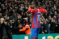 Wilfried Zaha of Crystal Palace beckons to the fans after scoring during the Premier League match between Crystal Palace and Brighton and Hove Albion at Selhurst Park, London, England on 16 December 2019. Photo by Carlton Myrie / PRiME Media Images.