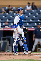 Duke Blue Devils catcher Chris Proctor (23) on defense against the California Golden Bears at Durham Bulls Athletic Park on February 20, 2016 in Durham, North Carolina.  The Blue Devils defeated the Golden Bears 6-5 in 10 innings.  (Brian Westerholt/Four Seam Images)