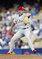 Brett Myers of the Philadelphia Phillies pitches during a 2002 MLB season game against the Los Angeles Dodgers at Dodger Stadium, in Los Angeles, California. (Larry Goren/Four Seam Images)