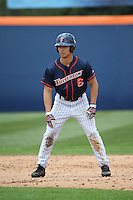 Scott Hurst #6 of the Cal State Fullerton Titans leads off of second base against the Stanford Cardinal at Goodwin Field on February 19, 2017 in Fullerton, California. Stanford defeated Cal State Fullerton, 8-7. (Larry Goren/Four Seam Images)