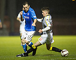 St Mirren v St Johnstone...06.12.14   SPFL<br /> James McFadden is tripped by Jack Baird<br /> Picture by Graeme Hart.<br /> Copyright Perthshire Picture Agency<br /> Tel: 01738 623350  Mobile: 07990 594431