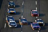 #11: Denny Hamlin, Joe Gibbs Racing, Toyota Camry FedEx Express and #14: Clint Bowyer, Stewart-Haas Racing, Chevrolet Camaro Stewart-Haas Racing Fan Club