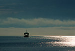 State run ferry approaching Lincolnville Beach, Maine, USA