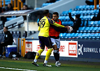 31st October 2020; The Den, Bermondsey, London, England; English Championship Football, Millwall Football Club versus Huddersfield Town; Mason Bennett of Millwall refusing to give the ball back to Josh Koroma of Huddersfield Town