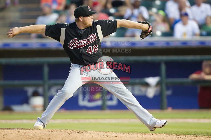 Sacramento River Cats pitcher AJ Griffin #46 delivers a pitch during the Pacific Coast League baseball game against the Round Rock Express on May 24, 2012 at the Dell Diamond in Round Rock, Texas. The Express defeated the River Cats 5-3. (Andrew Woolley/Four Seam Images).