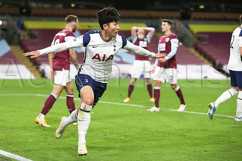26th October 2020, Turf Moor, Burnley UK; EPL Premier League football, Burnley v Tottenham Hotspur; Goal 0-1 Tottenham Hotspur forward Son Heung-Min (7) celebrates scoring the winning goal 0-1