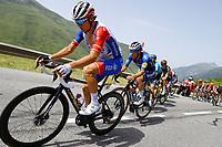 11th July 2021, Ceret, Pyrénées-Orientales, France; Tour de France cycling tour, stage 15, Ceret to  Andorre-La-Vieille;   MADOUAS Valentin (FRA) of GROUPAMA - FDJ, BALLERINI Davide (ITA) of DECEUNINCK - QUICK - STEP  during stage 15 of the 108th edition of the 2021 Tour de France cycling race, a stage of 191,3 kms between Ceret and Andorre-La-Vieille.