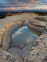 Sunrise at a waterhole in the El Malpais National Monument in New Mexico