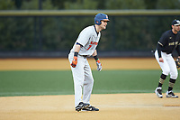 Zac Taylor (37) of the Illinois Fighting Illini takes his lead off of second base against the Wake Forest Demon Deacons at David F. Couch Ballpark on February 16, 2019 in  Winston-Salem, North Carolina.  The Fighting Illini defeated the Demon Deacons 5-2. (Brian Westerholt/Four Seam Images)