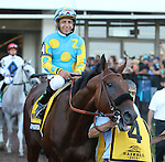August 2, 2015. American Pharoah, Victor Espinoza up, heads to the post parade for the  Grade I William Hill Haskell Invitational Stakes, one and 1/8 miles on the dirt  for three year olds at Monmouth Park in Oceanport, NJ. Bob Baffert is trainer; Ahmed Zayat is owner. Joan Fairman Kanes/ESW/CSM